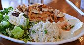 foto of greek  - Traditional plated Greek meal.