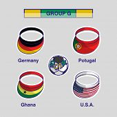 Group G Team Germany, Portugal, Ghana and U.S.A countries flags for Soccer