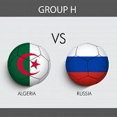 Group H Match Algeria v/s Russia countries flags for Soccer Competition in Brazil.
