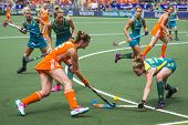 THE HAGUE, NETHERLANDS - JUNE 14 2014: Lidewij Welten tries to rush through the Australian Defence i