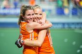 THE HAGUE, NETHERLANDS - JUNE 14 2014: Ellen Hoog hugs Jacky Schoenaker, celebrating their victory o