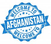 Welcome To Afghanistan Blue Grungy Vintage Isolated Seal