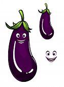 Happy healthy purple eggplant or aubergine