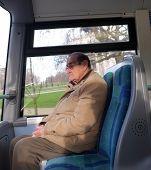 Elderly man on the bus