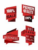 Set of origami labels for business