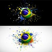 Brazil Flag With Soccer Ball Dash On Colorful Background, Vector Illustration