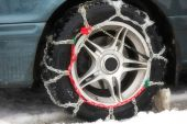 hains of anti-skid on a motor-car wheel