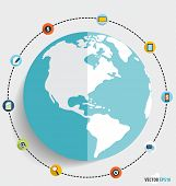 Modern globe with application icons, Business working elements for web design, seo optimizations, mo