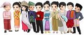 Group Of Southeast Asia People With Different Race And Culture In Cartoon Illustration Design