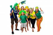 foto of enthusiastic  - Brazilian fans celebrating a Brazilian soccer team goal on white background - JPG