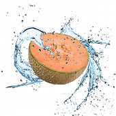 pic of cantaloupe  - Fresh cantaloupe melon with water splash over white background - JPG