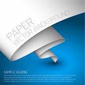 Vector blue simple background with folded white paper