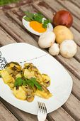 Baked Potatoes With Mushrooms And Curcuma