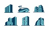 Vector 3d building icons set
