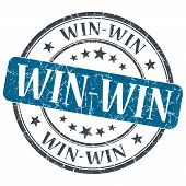Win - Win Blue Grunge Textured Vintage Isolated Stamp