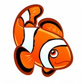 image of clown fish  - Smiling cartoon clownfish on the white background - JPG
