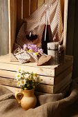 Beautiful still life with bottles of wine