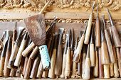 pic of woodcarving  - Tools of the woodcarver hand made in Thialand - JPG