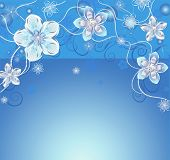 blue background with silver flowers
