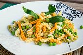 Italian Pasta With Ricotta Cheese,olive Oil, And Fresh Green Peas