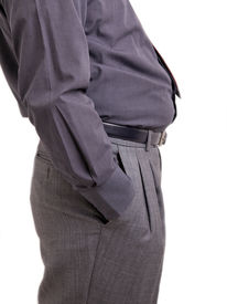 picture of bulging belly  - Man with bulging belly and hand in his pockets - JPG
