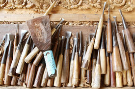picture of woodcarving  - Tools of the woodcarver hand made in Thialand - JPG