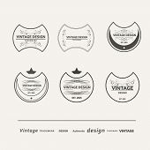 Set of six vector vintage logos beautiful swirl design