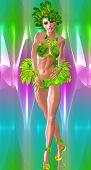 Carnival Dancer against colorful background. Modern digital art style.