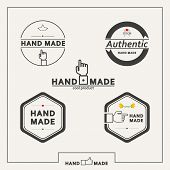 Set of five vector emblems for marketing handmade crafts