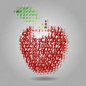 Apple made of letters