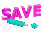 Illustration Of A Usb With Save Text