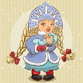 Snow Maiden in blue fur coat holds a lamb