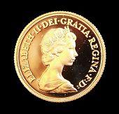 1980 Australian Gold sovereign on black background
