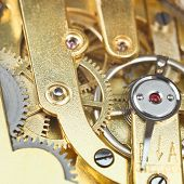 Brass Mechanical Clockwork Of Vintage Watch