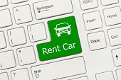 White Conceptual Keyboard - Rent Car (green Key)