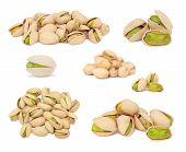 Set Ripe Pistachio Nuts (isolated)