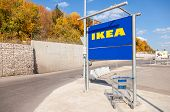 Samara, Russia - September 14, 2014: Large Empty Blue Shopping Cart Near The Ikea Samara Store.  Ike