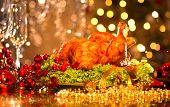 stock photo of flute  - Christmas table setting with turkey - JPG