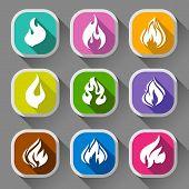 Fire flames, nine icons