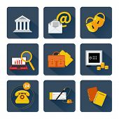 Icon set for finance and banking services