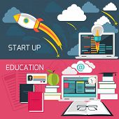 stock photo of time flies  - Flat design concept for business start up and online education with laptop connected to internet - JPG