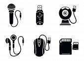 Icon set in black for digital devices