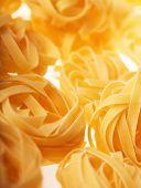 Raw tagliatelle pasta close up macro shoot