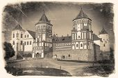 Vintage Retro Stylized Travel Image Of  Belorussian Tourist Landmark Attraction Mir Castle.