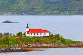 Norway, fjord.Lofoten Islands. Catholic church.
