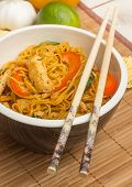 Chinese Chow Mein With Chicken And Bok Choy poster