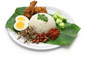 nasi lemak, coconut milk rice, malaysian cuisine isolated on white background