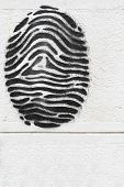 picture of drow  - Black fingerprint drawn on a white wall - JPG