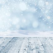 Winter background with wooden table