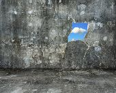 Nature Sky View Through Hole On Grey Grunge Concrete Wall